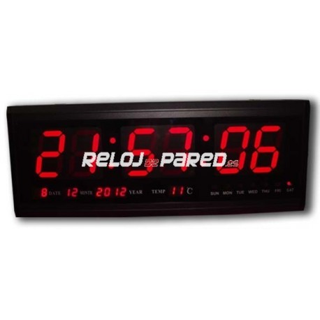 Reloj pared digital led rojo fecha y temperatura