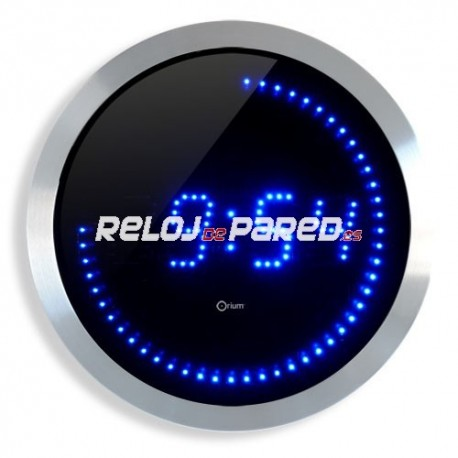 Reloj digital de pared LED  azul redondo