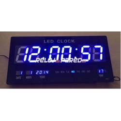 Reloj pared digital led fecha y temperatura azul