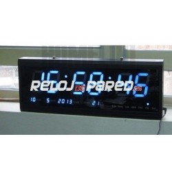 Reloj pared digital led azul