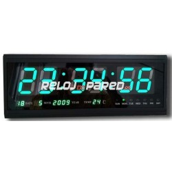 Reloj pared digital led verde