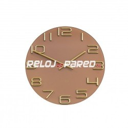 Reloj pared cristal marron