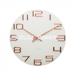 Reloj pared numeros en relieve color cobre