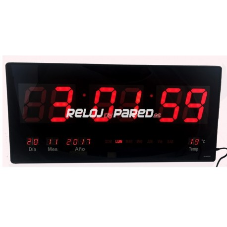 Reloj pared digital led fecha y temperatura rojo