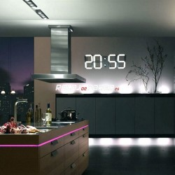 Reloj de pared digital, led blanco grande