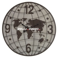 Reloj decorativo pared, mapamundi 60cm