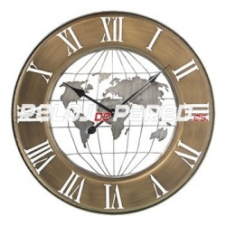 Reloj decorativo pared, mapamundi 63cm